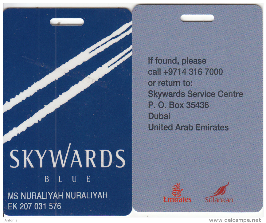U.A.E. - Emirates Skywards(blue) Privilege Member Card, Used - Vliegtuigen
