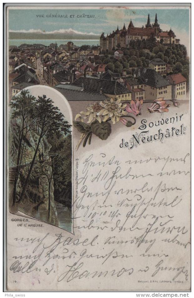 Neuchatel - Neuenburg, Souvenir De - Vue Generale, Gorges De L'Areuse - NE Neuchâtel