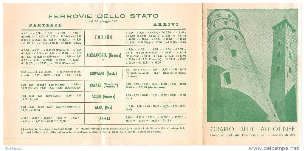 """04419 """"ITALIA - PIEMONTE - ORARIO DELLE FERROVIE - E DELLE AUTOLINEE - 1951""""OMAGGIO ENTE PROV. TURISMO ASTI - Europe"""