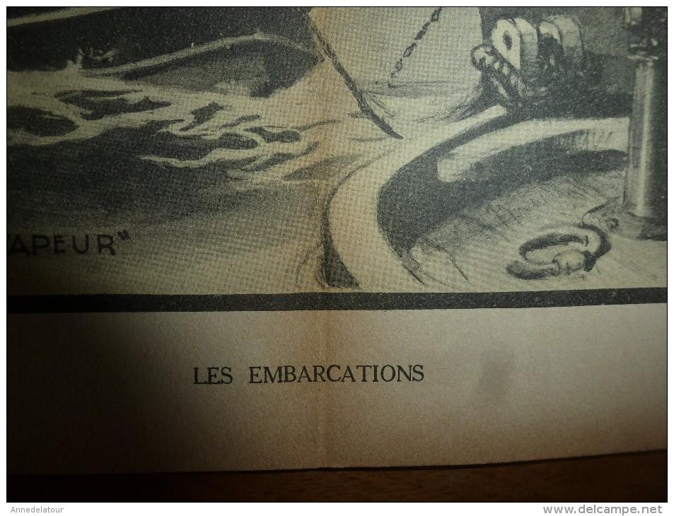 Guerre Navale Grav. Albert Sébille : LES EMBARCATIONS, Mise à La Mer De La Chaloupe, Etc (dim. Document = 50cm X 33cm - Barcos