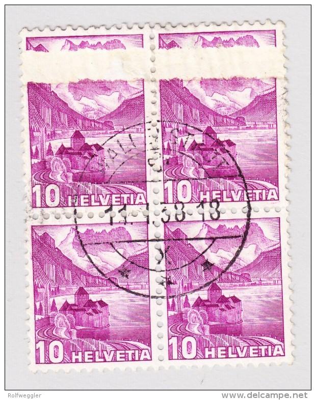 Schweiz 1936-38 #203Az  Druckabart Spektakulär In Viererblock Gestempelt 11.1.1938 Wallenstadt - Variétés