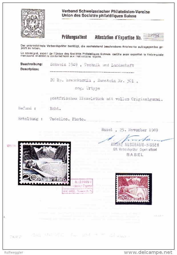 "Schweiz 1949 # 301 ** Technik 20Rp ""Urtype""  Attest Nussbaum - Variétés"