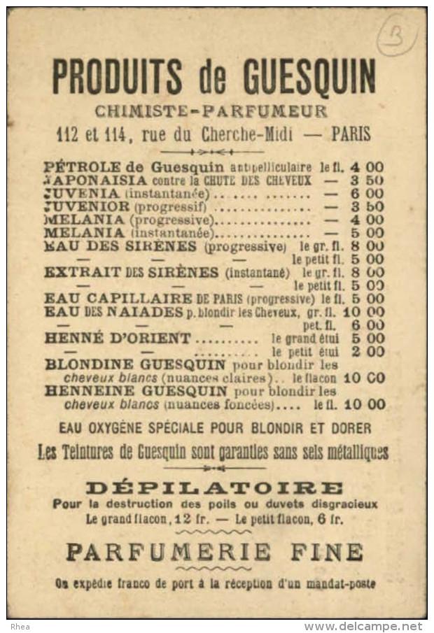 CHROMOS - COIFFEURS - CHEVEUX - Pub PRODUITS DE GUESQUIN - Courses De Cheveux - Chromos