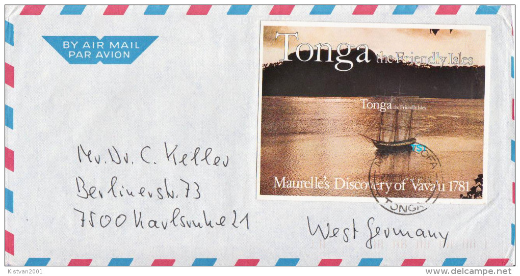 Postal History Cover: Superb Tonga Cover With Ship SS - Boten