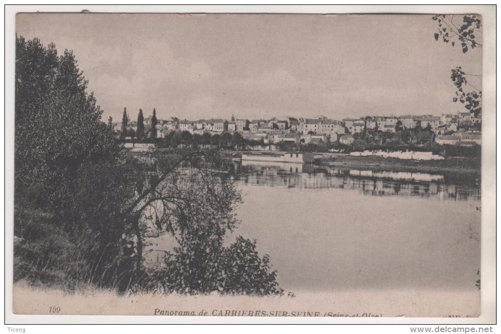 CARRIERES SUR SEINE SEINE ET OISE YVELYNES 78 - PANORAMA DE LA VILLE - A NOTER PAIRE DE TIMBRES PASTEUR - VOIR LES SCANS - Carrières-sur-Seine
