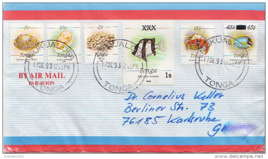 Postal History Cover: Superb Tonga Cover With Marine Life Stamps From 1992 - Maritiem Leven