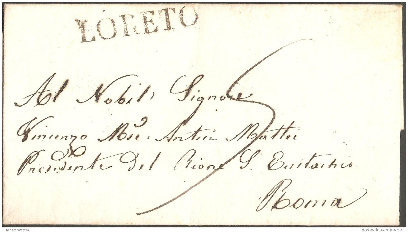 Loreto Marche 1855 Italia, Brief Nach Roma - Romagna