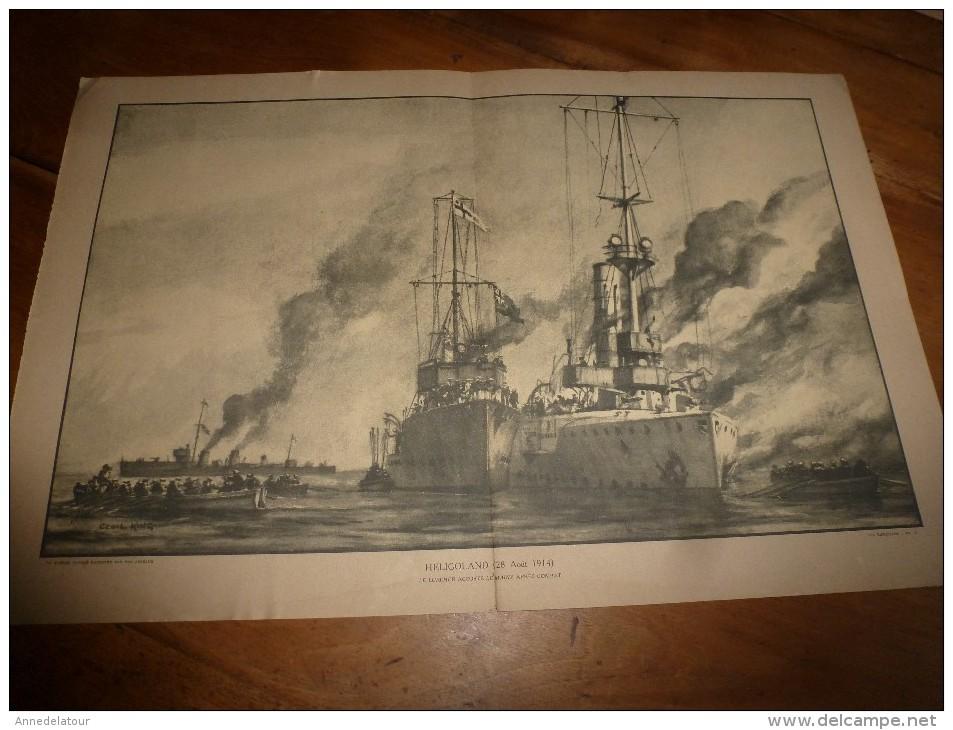 Guerre Navale Grav. Cecil King : HELIGOLAND (Le LUCHER Accoste Le MAINZ Après Combat ) (dim. Document = 50cm X 33cm - Bateaux