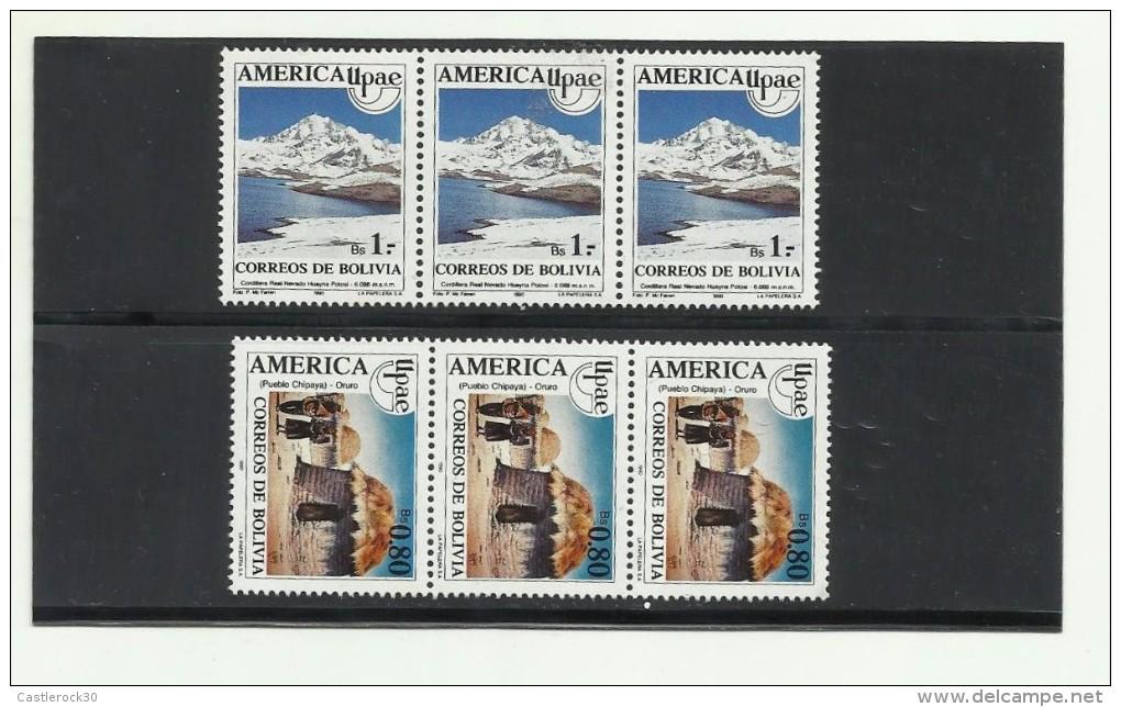 O) 1990 BOLIVIA, AMERICA UPAEP, MOUNTAIN RANGE REAL - NEVADO HUAYNA, HUT - INDIAN CULTURE CHIPAYA ORURO, SET MNH - Stamps