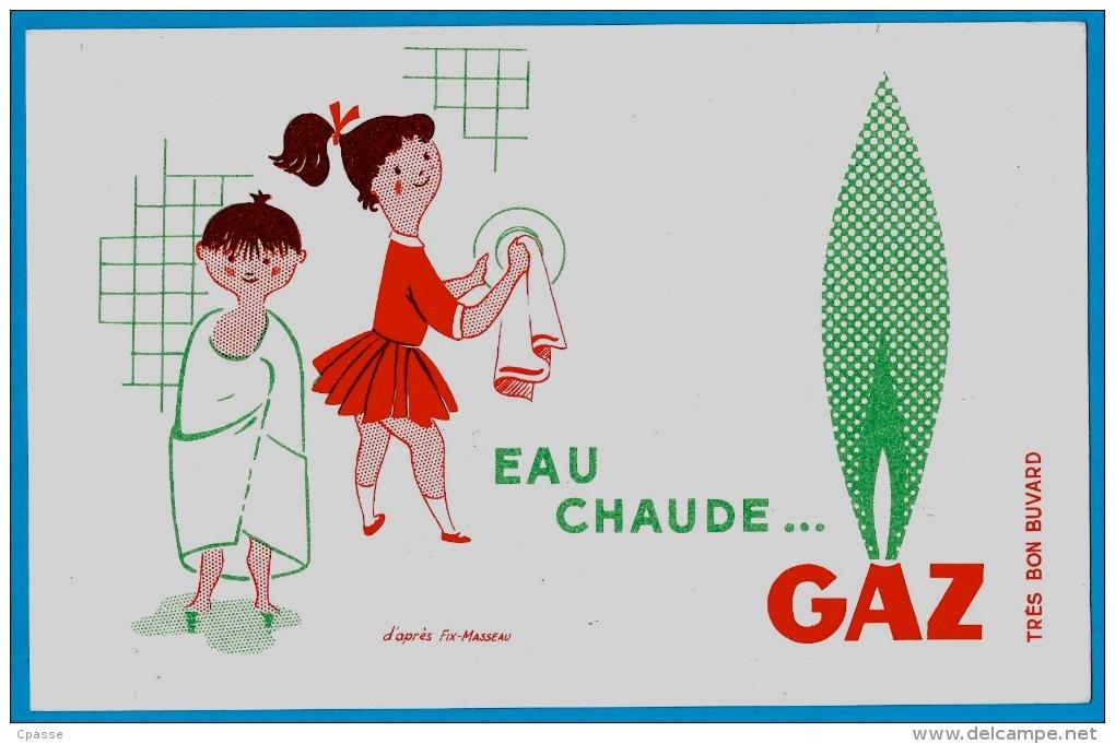 BUVARD (LOT De 2) D'après Illustrateur Fix-Masseau GAZ Bonne Cuisine...Jeu D'Enfant & Eau Chaude... - Electricité & Gaz