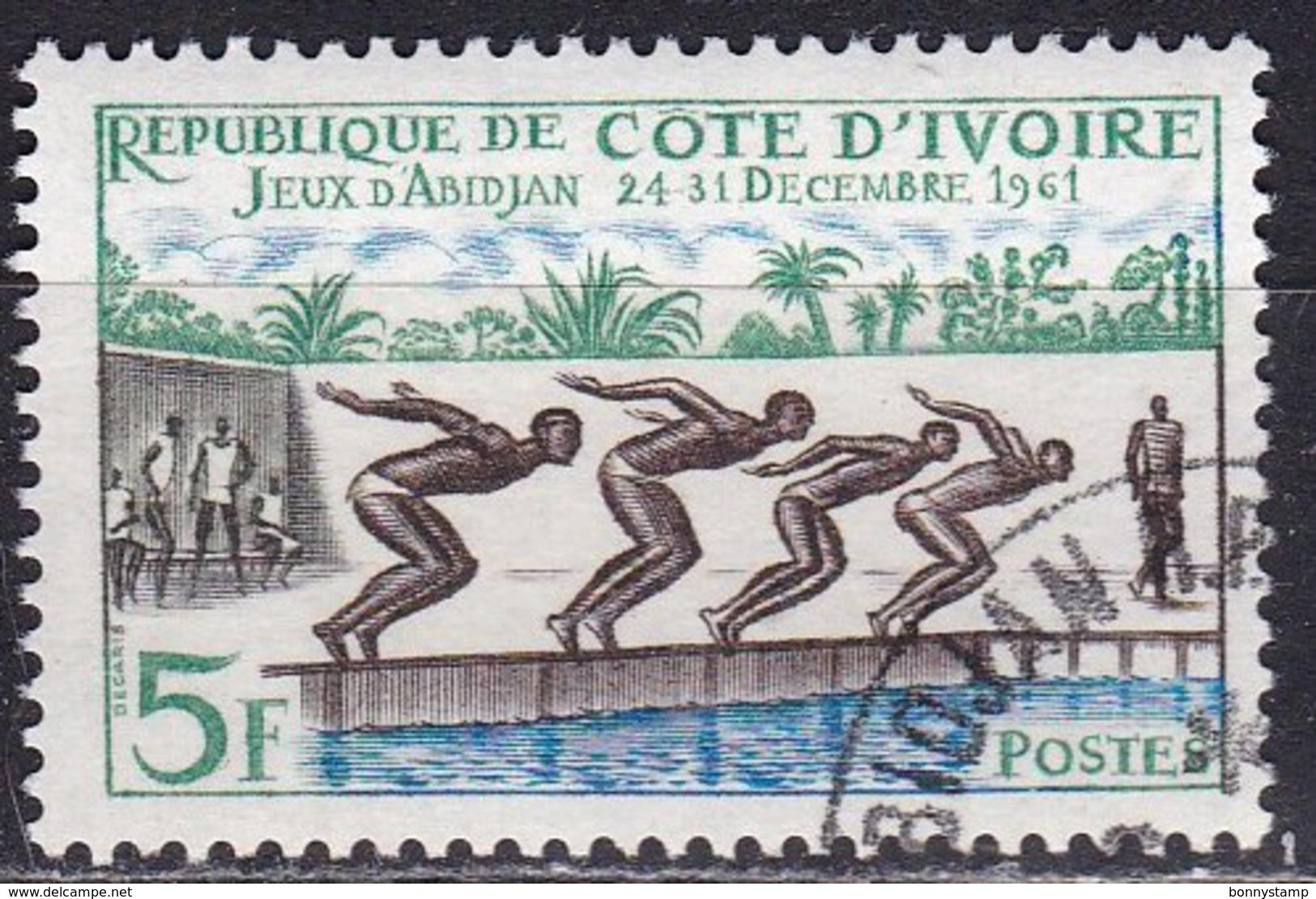 Costa D'Avorio, 1961 - 5f Swimming Race - Nr.193 Usato° - Costa D'Avorio (1960-...)