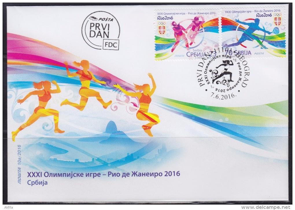 Serbia 2016 XXXI Summer Olympic Games In Rio De Janeiro (Olimpiadi Estive Di Rio De Janeiro), FDC - Serbia