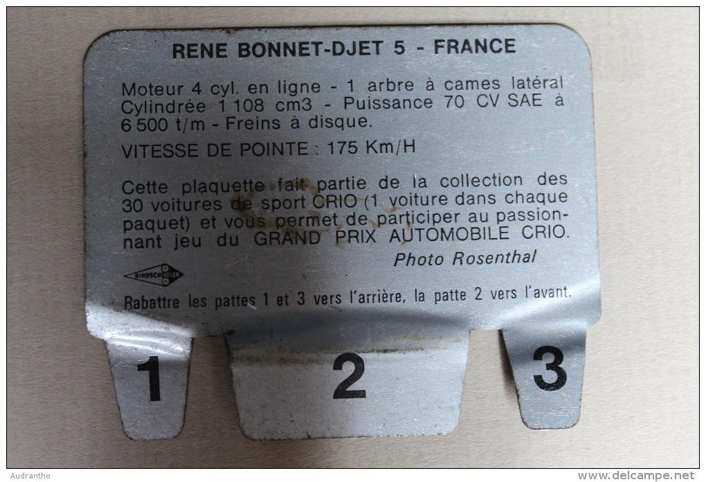 Plaque Métal Lessive CRIO Voiture René Bonnet DJET 5 Grand Prix Automobile - Automotive