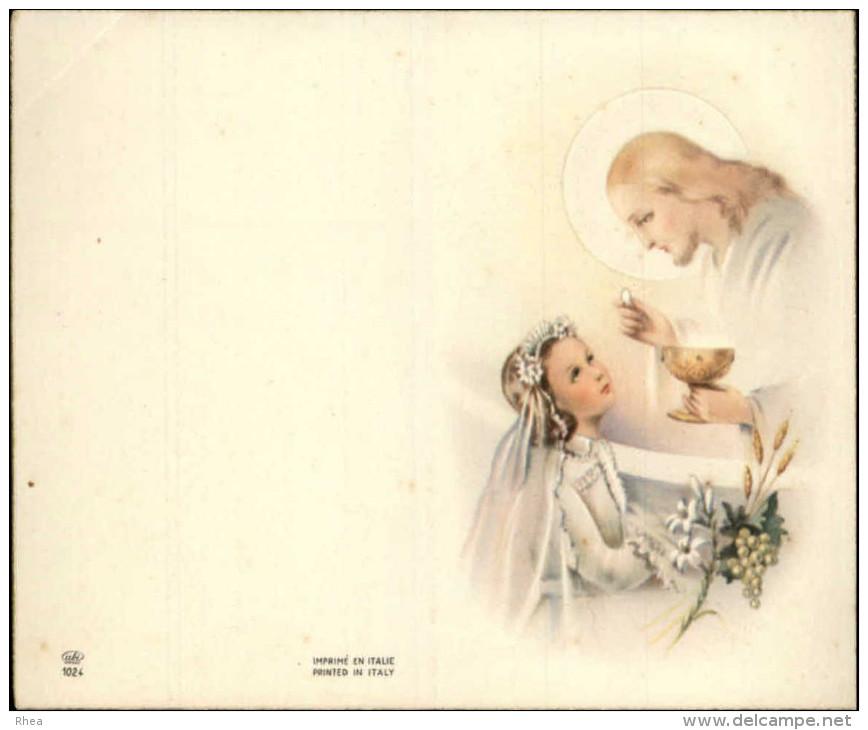 COMMUNIANTS - Lot De 5 Images Pieuses Pouvant Se Plier Leur Milieu - Images Religieuses