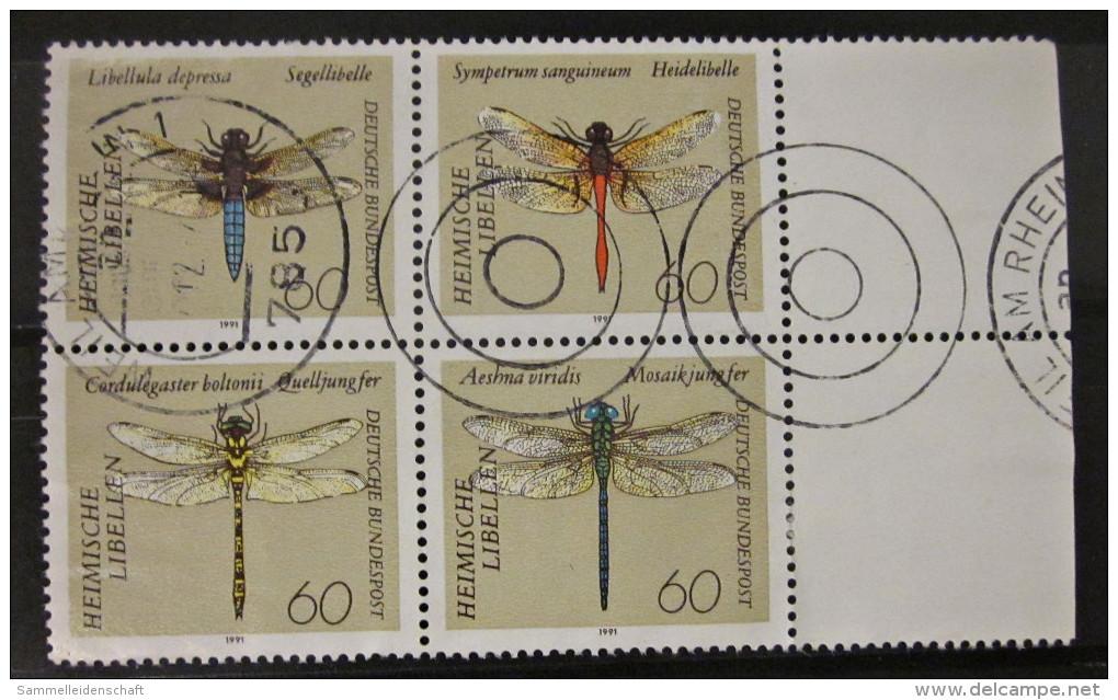 Briefmarken Bund BRD 1991 Vierer Block Rand Rechts Zusammendruck Libellen - [7] Federal Republic