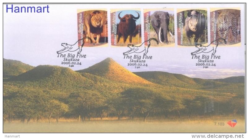 Republic Of South Africa 2006 Mi 1692-1696 FDC- Wild Cats, Elephants, Rhinoceroses - Elephants