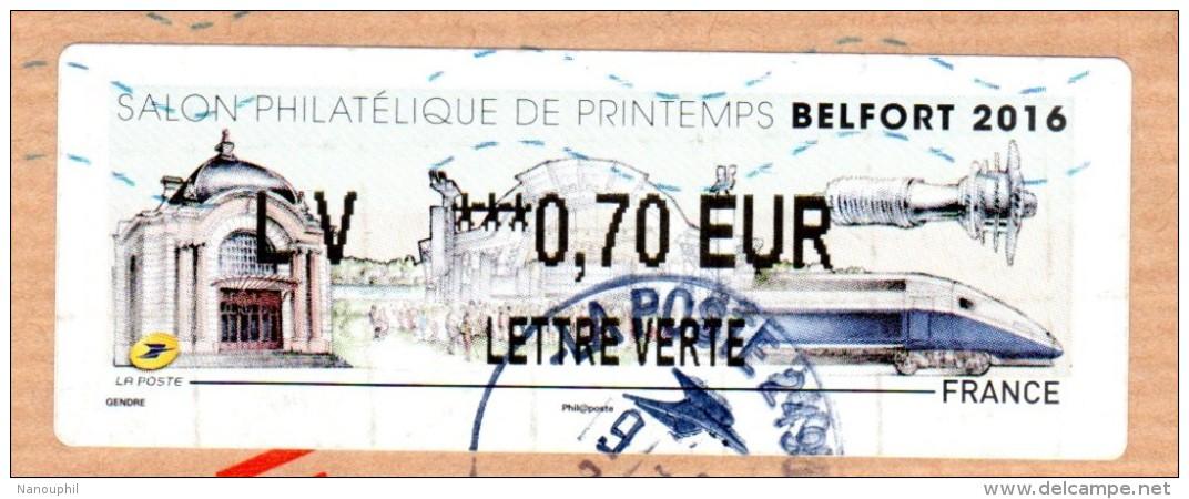 """VIGNETTE LISA    """" SALON  PHILATELIQUE  DE  PRINTEMPS  """"   Lettre Verte  0.70 Euros  (sur Fragment)  BELFORT 2016 - 2010-... Vignette Illustrate"""
