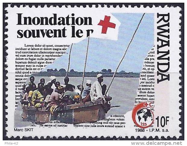 Rwanda 1988 - 125th Anniversary Of Red-Cross ( Mi 1403 - YT 1272 ) MNG - Croix-Rouge