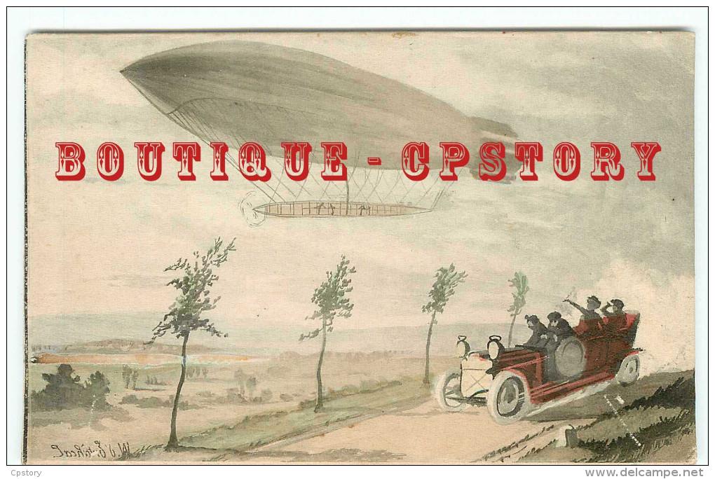 DIRIGEABLE < CARTE ILLUSTRATEUR - AEROPLANE AVIATION - VOITURE AUTOMOBILE - DOS SCANNE - Dirigibili