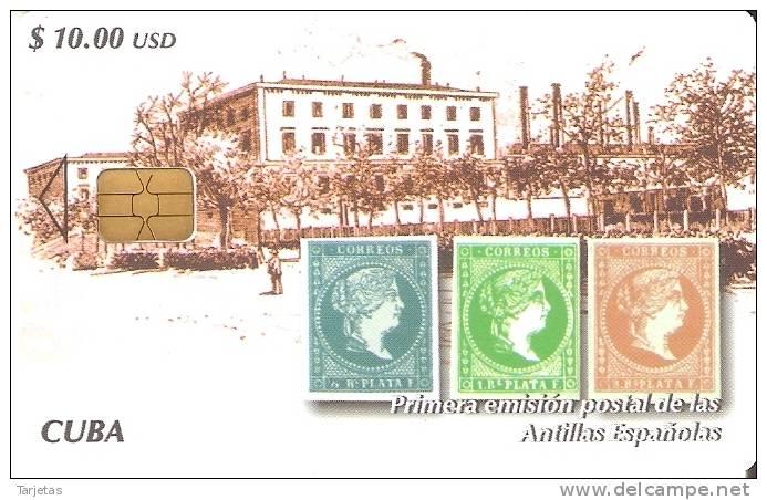 Nº 208 TARJETA DE CUBA DE LA PRIMERA EMISION POSTAL (SELLO-STAMP) - Cuba