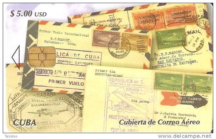 TARJETA DE CUBA DE UNAS CARTAS CON SELLOS (STAMP-SELLO) - Cuba