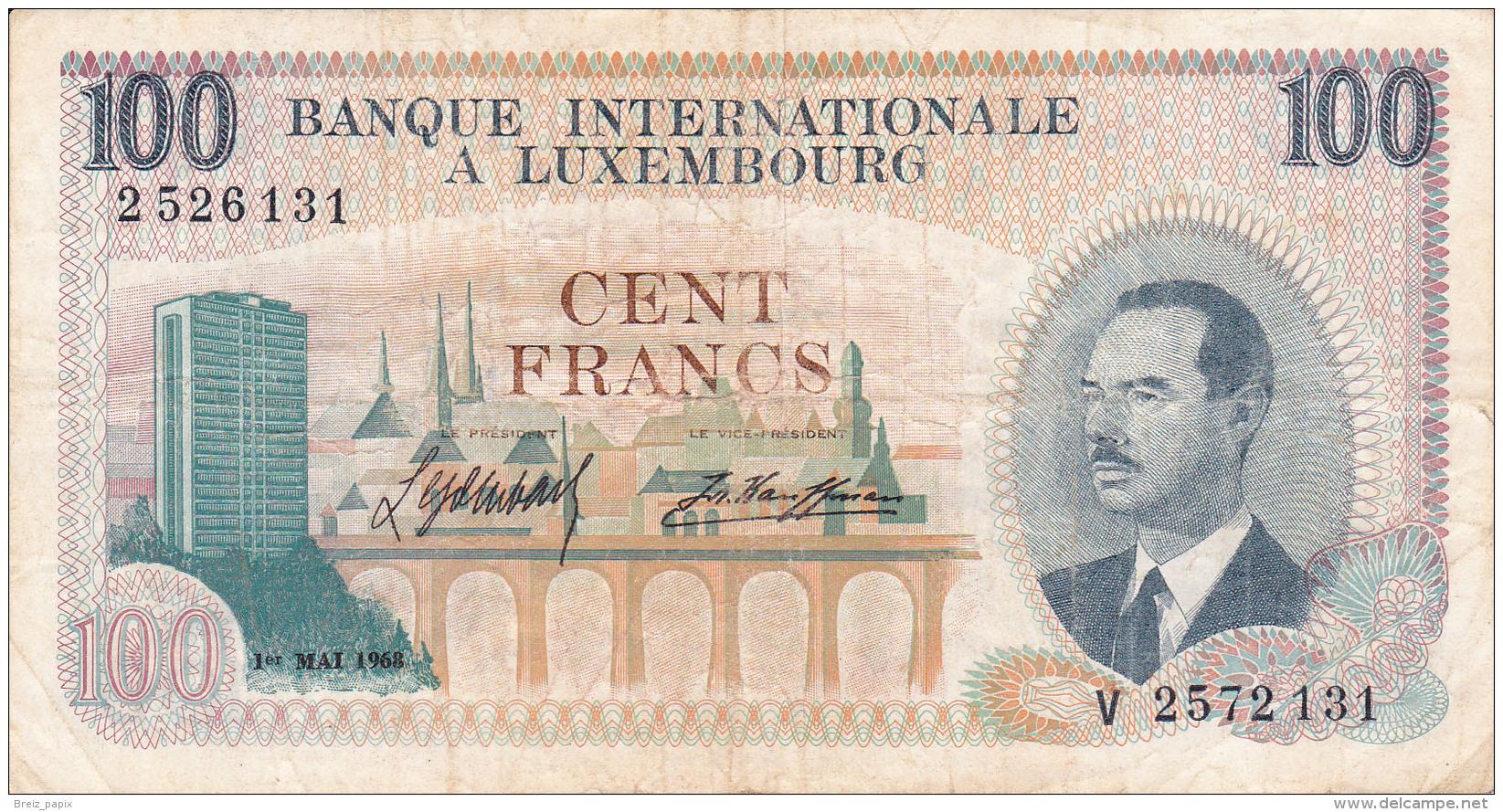 LUXEMBOURG - BILLET DE 100 FRANCS - 1968 - Luxembourg
