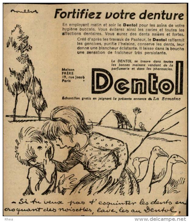 DENTISTES - Pub DENTOL Issue D´une Revue De 1937 Collée Sur Carton - Dessin De POULBOT - Publicités