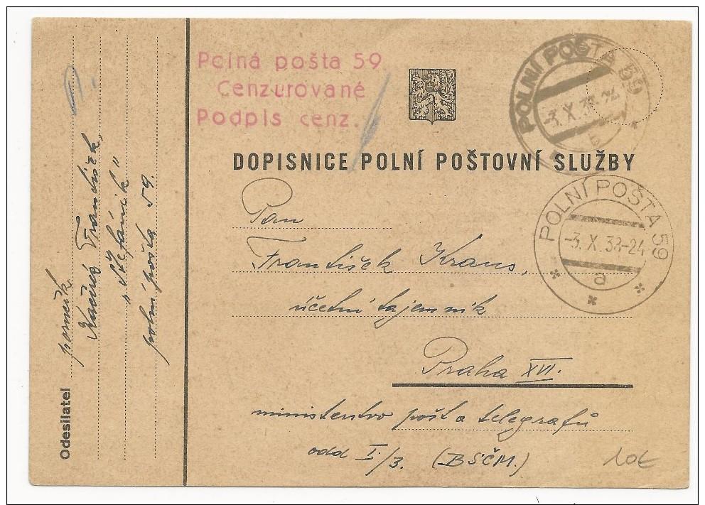 TCHECOSLOVAQUIE - 1938 - CARTE FM Avec CENSURE Du SP 59 Pour PRAGUE - Tchécoslovaquie