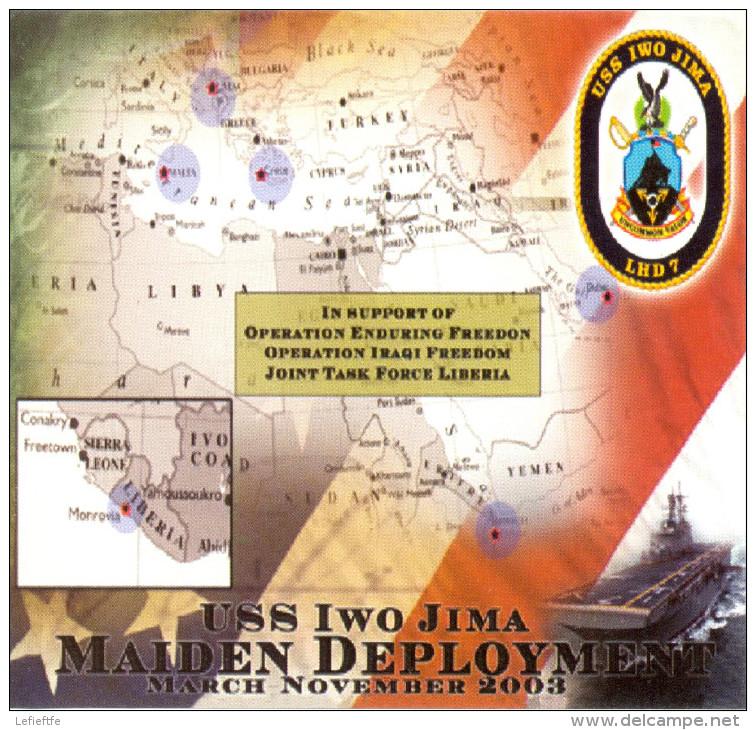346 - Etiquette Souvenir ISS IWO JIMA Maiden Deployment March November 2003 - Support Enduring Freedom Irak/Liberia - Boten