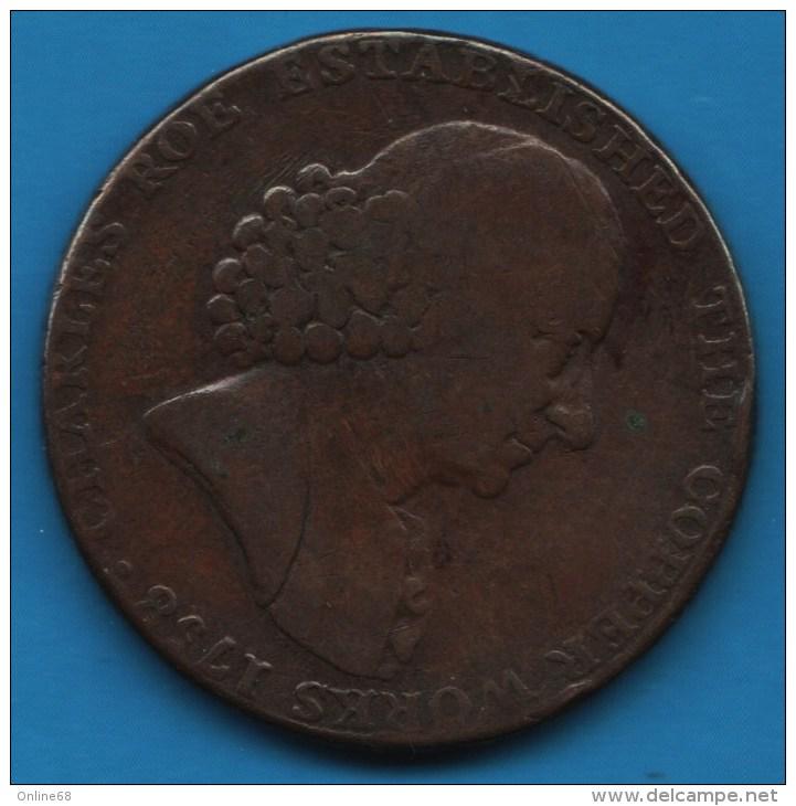 MACCLESFIELD 1/2 HALF PENNY 1790 CHARLES ROE ESTABLISHED THE COPPER WORKS - Professionnels/De Société