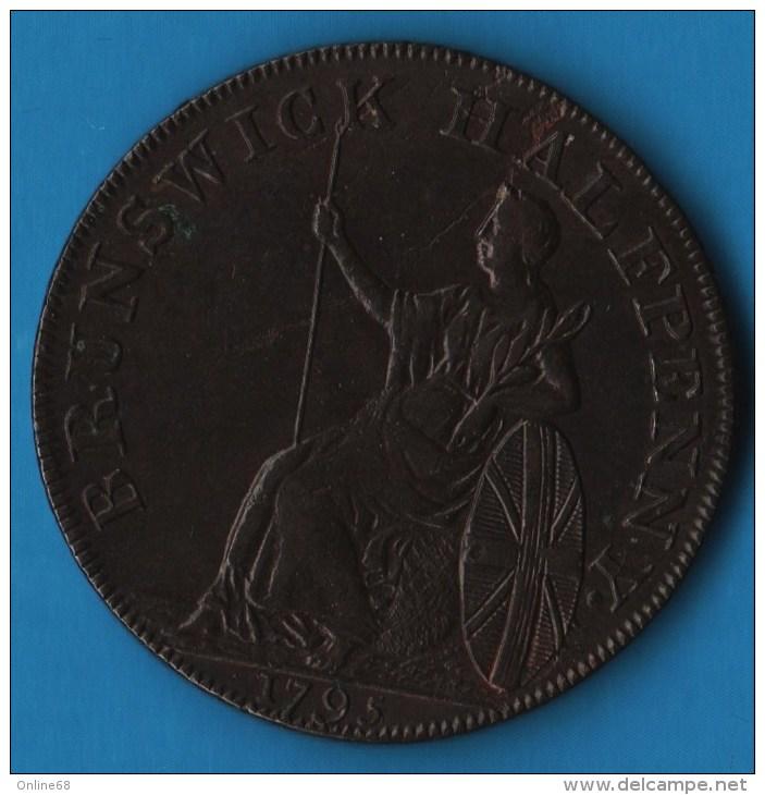 Middlesex, Brunswick  1/2 HALF PENNY 1795 Britannia  George III (1760-1820), Payable At J Kilvingtons - Professionnels/De Société