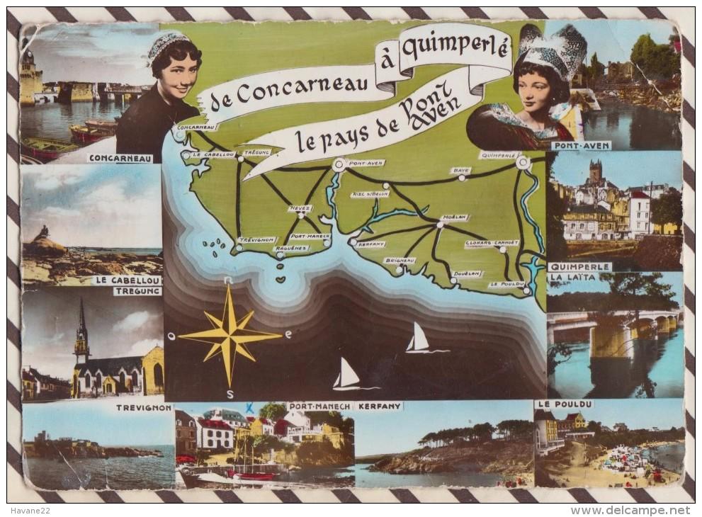 6AI2683 Carte Geographique DE CONCARNEAU A QUIMPERLE LE PAYS DE PONT AVEN REMA  2 SCANS - Cartes Géographiques