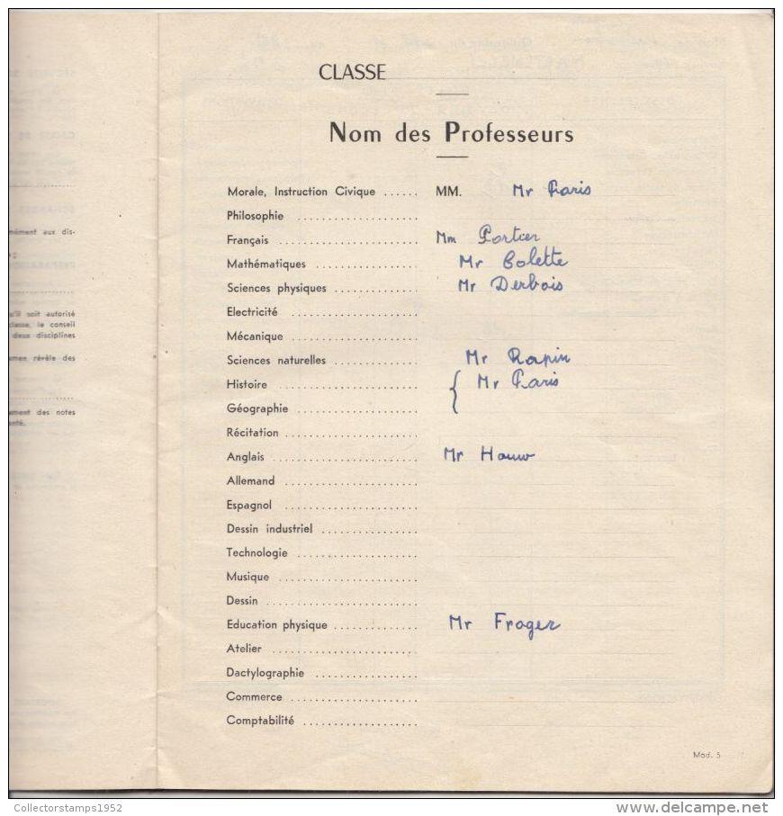 4267FM- JULLES FERRY-VERSAILLES COLLEGE SCHOOL REPORT, GRADES, 42 PAGES, 1959, FRANCE - Diplômes & Bulletins Scolaires