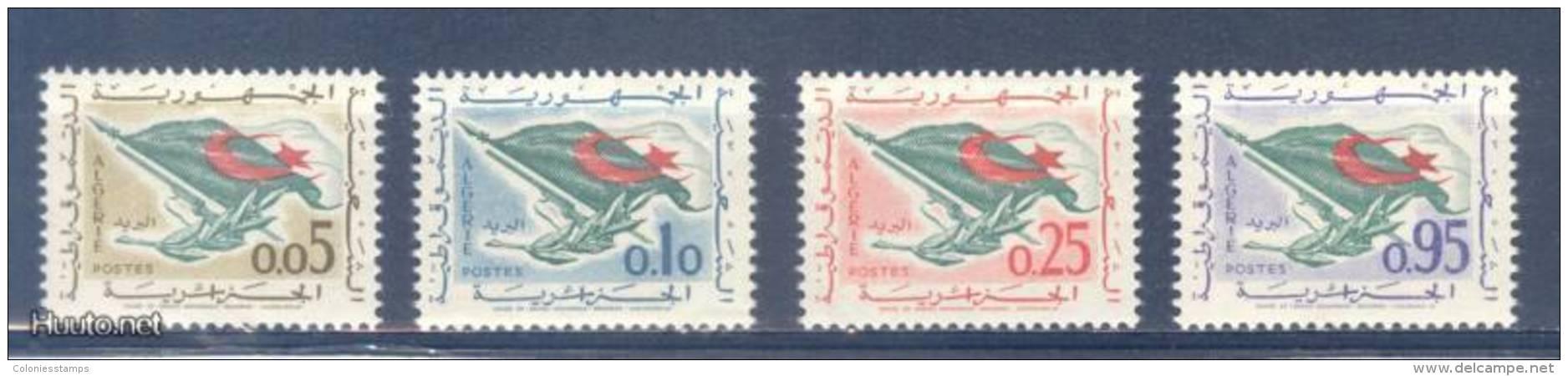 (S0483) ALGERIA, 1963 (Definitives. National Flag). Mi ## 394-397. MNH** - Algérie (1962-...)
