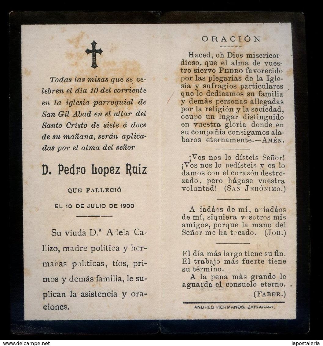 Impresor *F. Pena, Barcelona* J. Camins Dibujó. J. Furnó Grabó. Año 1900. - Esquela