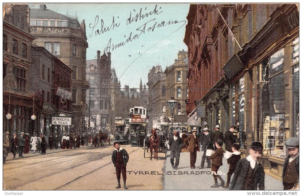 "04496 ""TYRREL - ST. BRADFORD"" ANIMATA, TRAMWAY, CARROZZA CON CAVALLO. CART  SPED 1906 - Bradford"