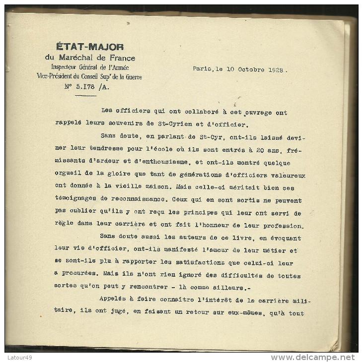 LIVRE  SAINT CYR ET LA VIE MILITAIORE 1929  93  PAGES  ( PETAIN) - Books, Magazines  & Catalogs