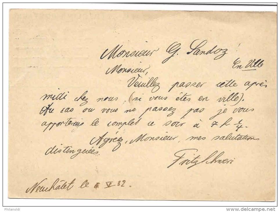 Suisse, Entier Postal Oblitéré Neuchâtel 1932 Avec Illustration Concordante Neuchâtel Château - Enteros Postales