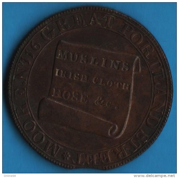 Middlesex - Moore's Lace Manufactory 1/2 HALF PENNY 1795  D&H 389  N°116 GREAT PORTLAND STREET - Professionnels/De Société