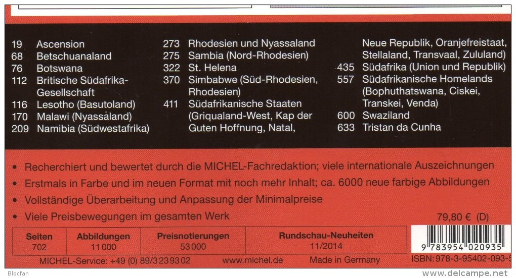 Südafrika Part 6/2 Catalogue 2014 New 80€ MICHEL South-Africa Botswana Lesetho Malawi Namibia Sambia Südafrika Swaziland - Phonecards
