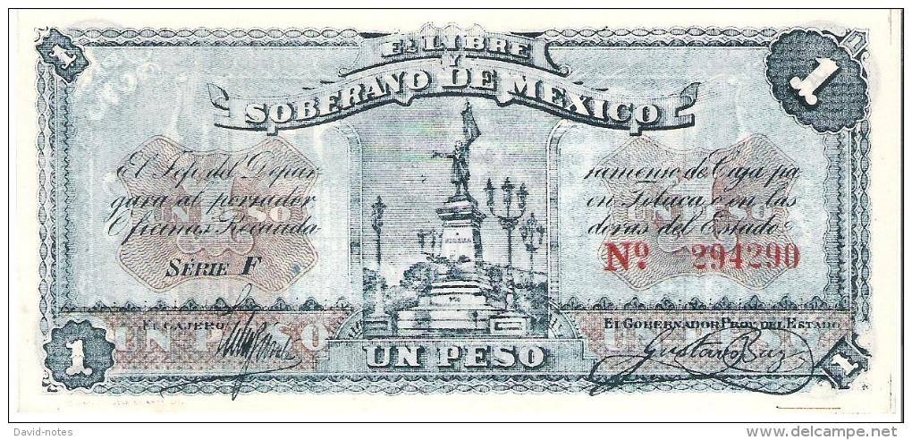 Mexico - Pick S881 - 1 Peso 1915 - AUnc - ESTADO LIBRE Y SOBERANO - Mexique