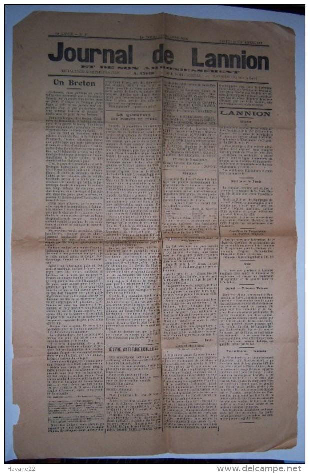 JOURNAL DE LANNION 21 Septembre 1918 Bretagne - Livres, BD, Revues