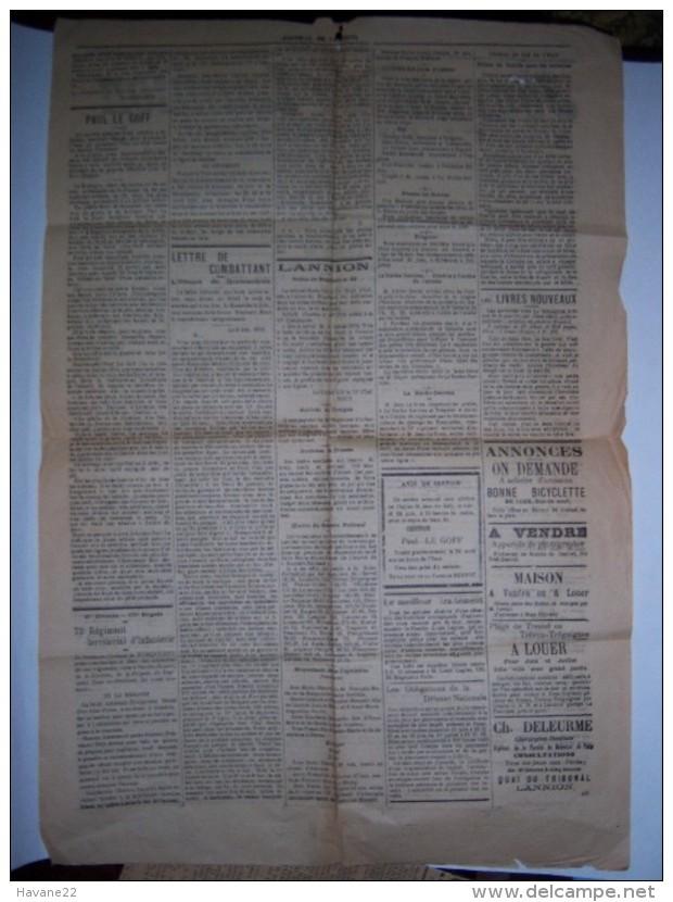 JOURNAL DE LANNION 1 Janvier 1916 Bretagne - Livres, BD, Revues