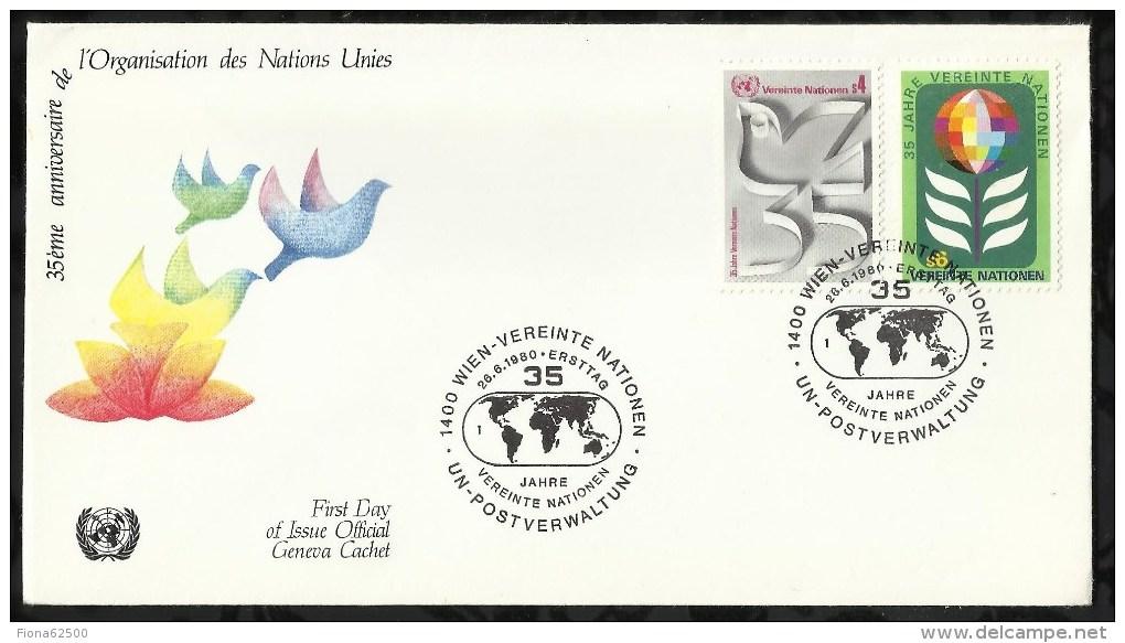 35 éme ANNIVERSAIRE DE L'ONU .  26 JUIN  1980  .  VIENNE  . - FDC