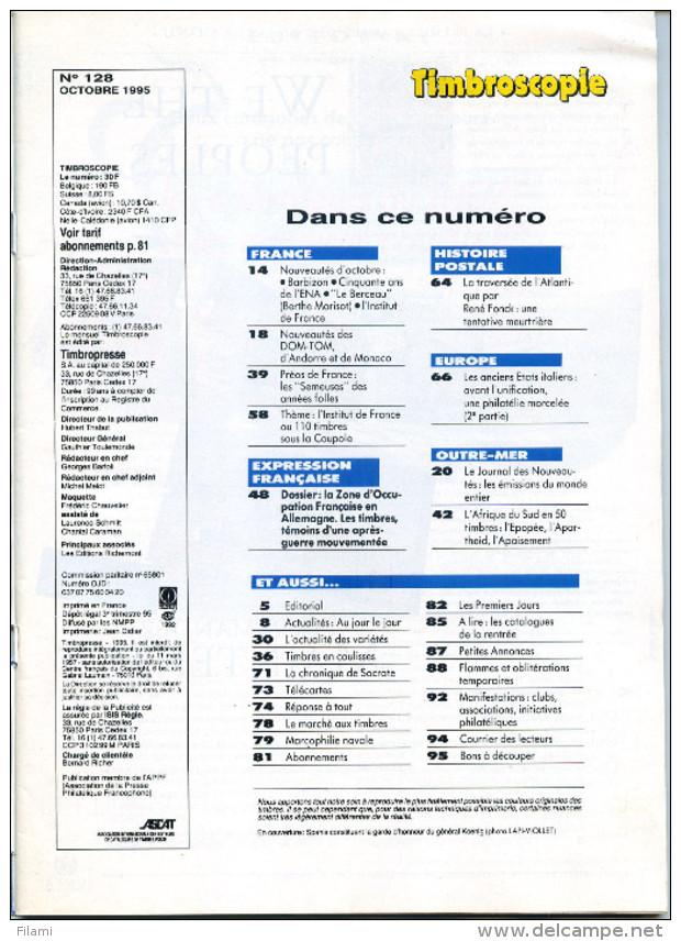 Timbroscopie N.128,Semeuse Préoblitéré,Allemagne Zone Occupée,Italie Modene,Parme,Sicile,René Fonck Aviation - Français (àpd. 1941)