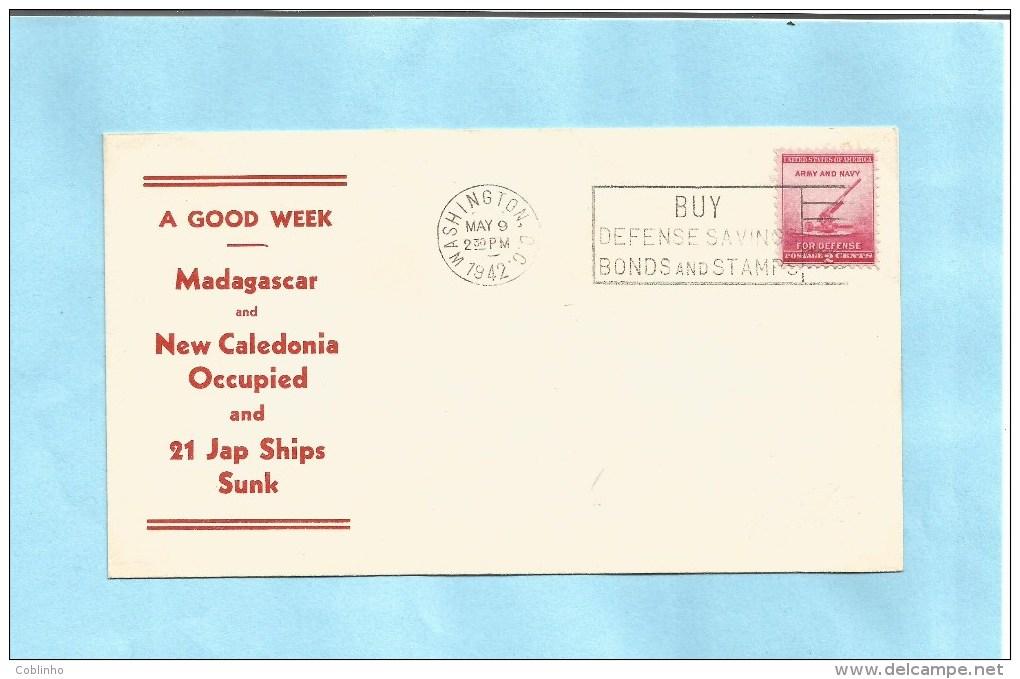 US Patriotic WW II Cover - 1942 - Caledonia / Caledonie - Madagascar - Japan / Japon - Event Covers