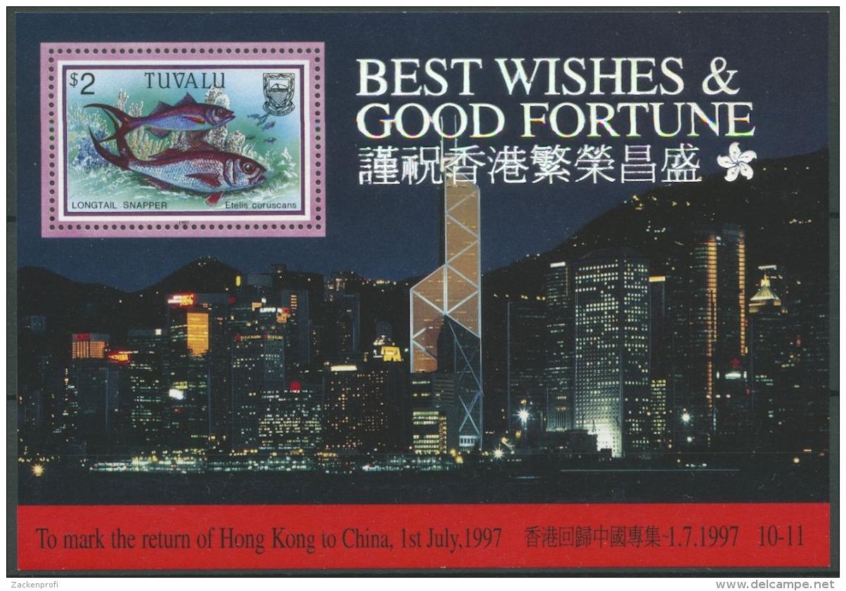 Tuvalu 1997 Rückgabe Hongkongs An China Fische Block 59 Postfrisch (C26909) - Tuvalu (fr. Elliceinseln)