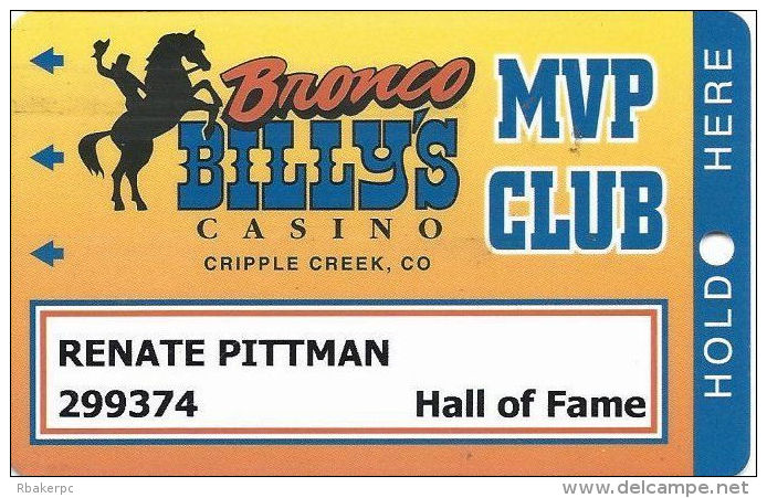 Bronco Billy´s Casino Cripple Creek, CO - 17th Issue Hall Of Fame Slot Card - See Description & Scans! - Casino Cards