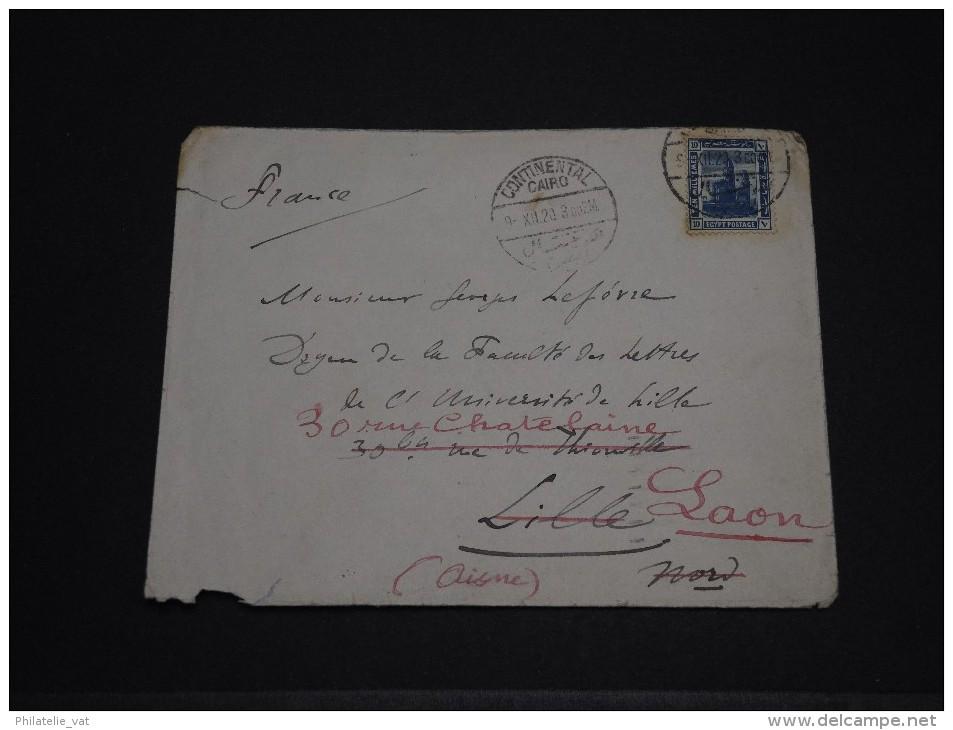 EGYPTE - Env Pour Lille Puis Redirigée Pour Laon - Dec 1920 - A Voir - P19592 - Égypte