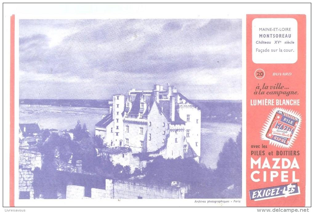 Buvard Pile Mazda Série Les Châteaux N°20 Montsoreau - Electricité & Gaz